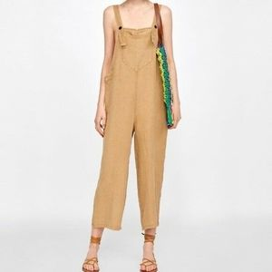 Zara Woman 100% Linen Overalls Natural/Tan $128